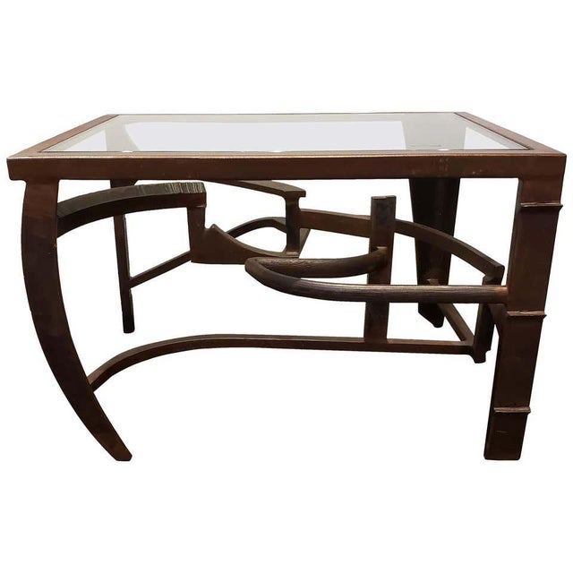 Bronze Artisan Crafted Iron and Glass Table Postmodern Brutalist For Sale - Image 8 of 8