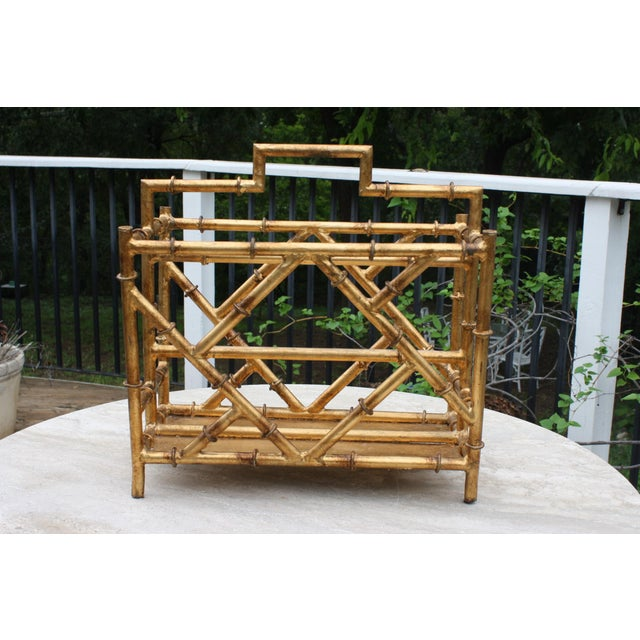 Gilt Faux Bamboo Chinoiserie Style Magazine Rack For Sale - Image 11 of 11