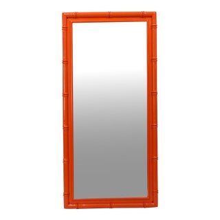 Faux Bamboo Orange Lacquered Mirror
