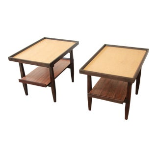 Milo Baughman for Drexel Perspective Cork Top End Tables, Pair For Sale