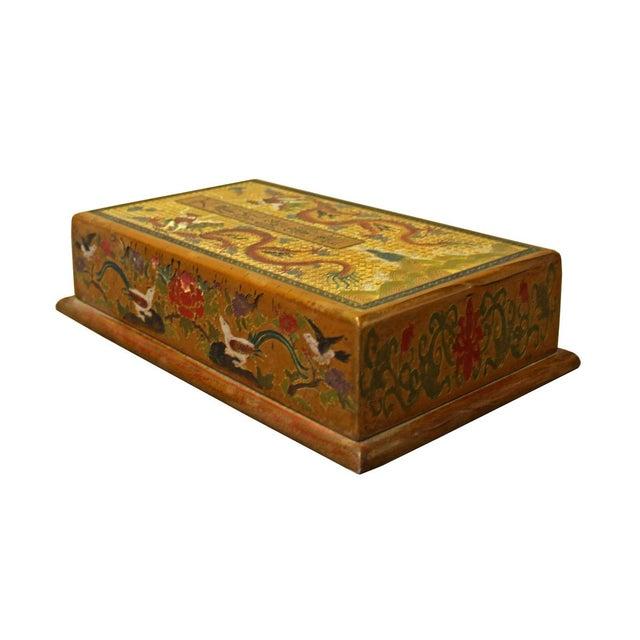 Asian Chinese Golden Orange Yellow Dragon Graphic Rectangular Box For Sale - Image 3 of 6