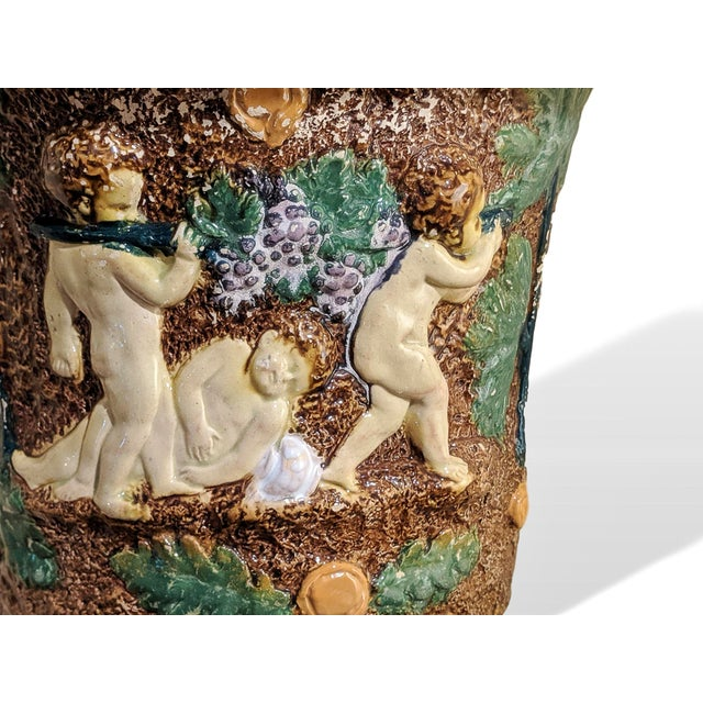 Late 19th Century 19th Century Majolica Urn by William Bronwfield For Sale - Image 5 of 6