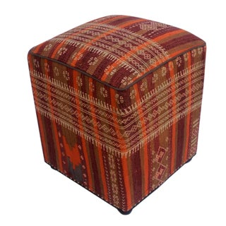 Arshs Doria Orange/Purple Kilim Upholstered Handmade Ottoman For Sale