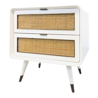 Bungalow 5 Mid-Century Modern Style White Malmo 2-Drawer Side Table For Sale