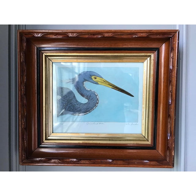 Pair of limited edition heron prints numbered 22/100 and 23/100. Hand painted and colored, signed by artist. Herons of...