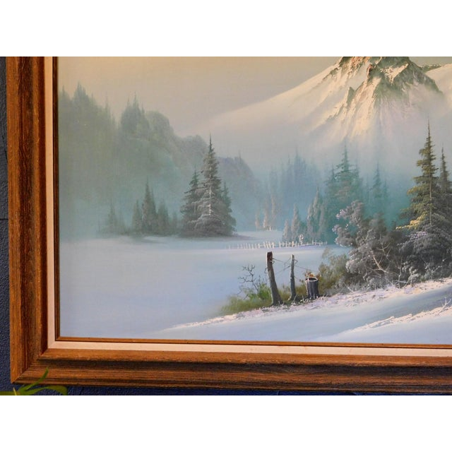 """1960s Mid 20th Century """"A Winter Landscape"""" Oil Painting, Framed For Sale - Image 5 of 8"""
