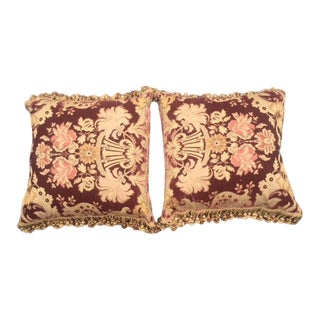 Janet Yonati Silk Velvet Pillows & Silk Tassels - a Pair For Sale
