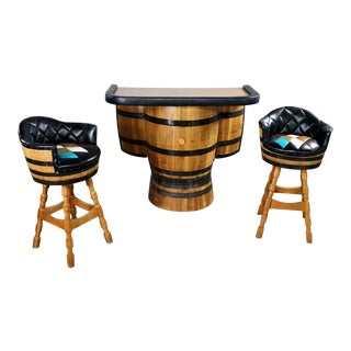 Mid Century Whiskey Barrel Bar and Swivel Bar Stools by Brothers Furniture of Kentucky For Sale