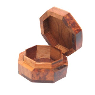 Handmade Small Thuya Wood Octagon Storage Box