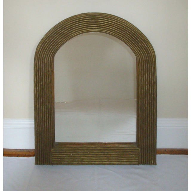 """Wicker 31"""" Arch Top Mirror Gold Rattan Wicker For Sale - Image 7 of 7"""