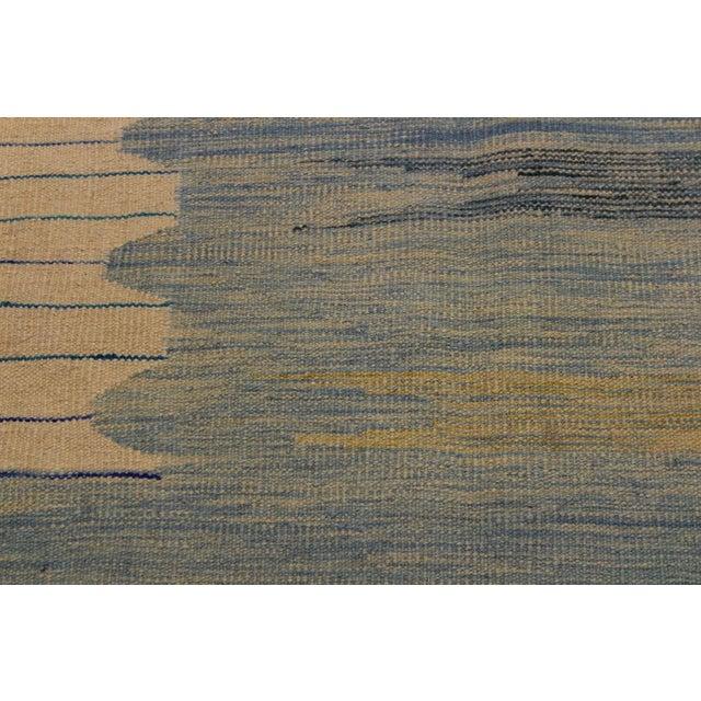 Modern Bauhaus Shultz Blue Hand-Woven Kilim Wool Rug - 8′11″ × 12′3″ For Sale - Image 4 of 8