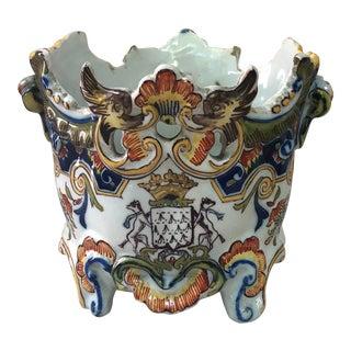 French Faience Jardiniere Cache Pot Desvres, Circa 1900 For Sale
