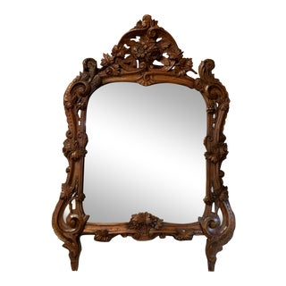19th Century English Regency Carved Walnut Mirror For Sale