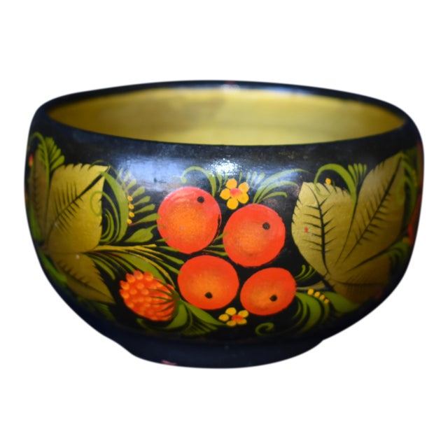 Hand Painted Russian Wooden Bowl For Sale