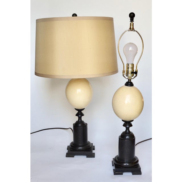Black Ostrich Egg and Ebony Base Lamps - a Pair For Sale - Image 8 of 8