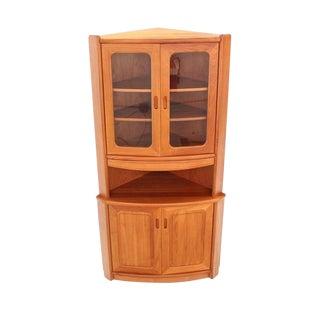 Solid Teak Danish Modern Corner Cabinet For Sale