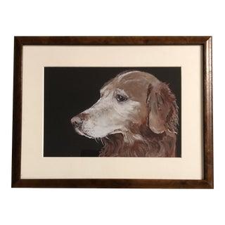 Contemporary Golden Retriever Dog Print ByJudy Henn Burled Wood Frame For Sale