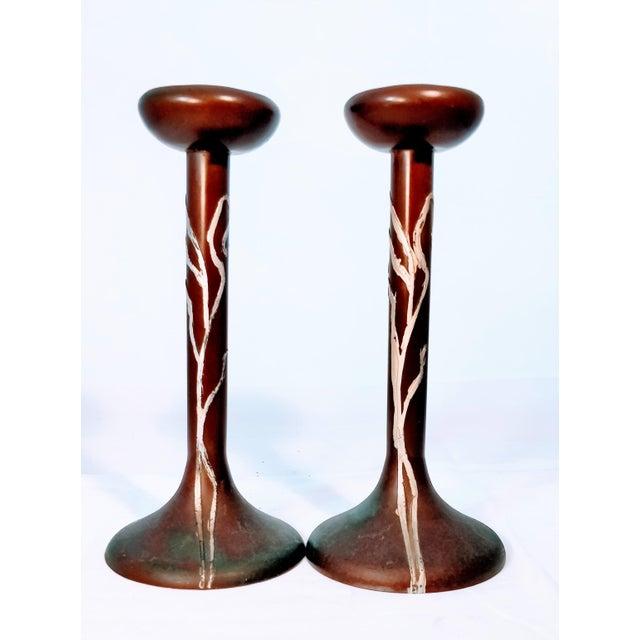 Heintz Sea Grass Bronze Candlesticks - A Pair For Sale - Image 9 of 9