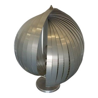1970's Henri Mathieu Architectural Aluminum Table Lamp For Sale