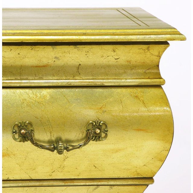 Pair Henredon Gold Toned Silver Leaf Bombe Two-Drawer Commodes - Image 7 of 10