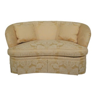 Traditional Pearson Crescent Shaped Yellow Damask Upholstered Loveseat Sofa For Sale