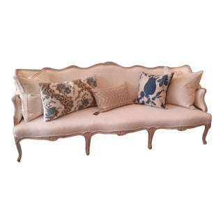 """Vintage Louis XVI Settee 86"""" Newly Recovered Linen Stain Resistant For Sale"""