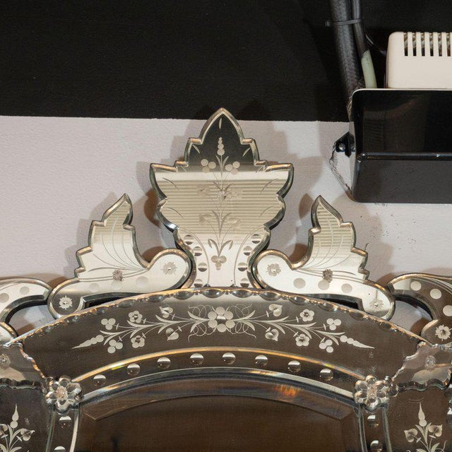 Mid-Century Modern Neoclassical Venetian Cartouche Form Chain Bevelled Mirror For Sale - Image 4 of 7