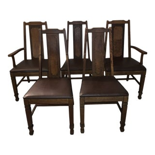 Vintage Chocolate Leather Wooden Dining Chairs - Set of 5 For Sale
