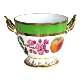 A Good Quality Paris Porcelain Polychromed Double-Handled Cache Pot/Jardiniere For Sale