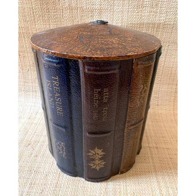 Wood Vintage Faux Books Wastebasket For Sale - Image 7 of 7