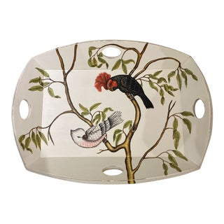 Hand-Painted Parrots Tray For Sale