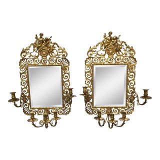 Large French Bronze Mirrored Sconces - a Pair For Sale