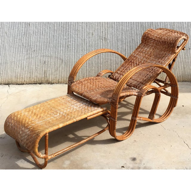White 20th Century Adjustable Bentwood and Rattan Chaise Longue With Ottoman For Sale - Image 8 of 12