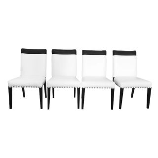 Set of 4 Black and White Leatherette Dining Chairs With Studs For Sale
