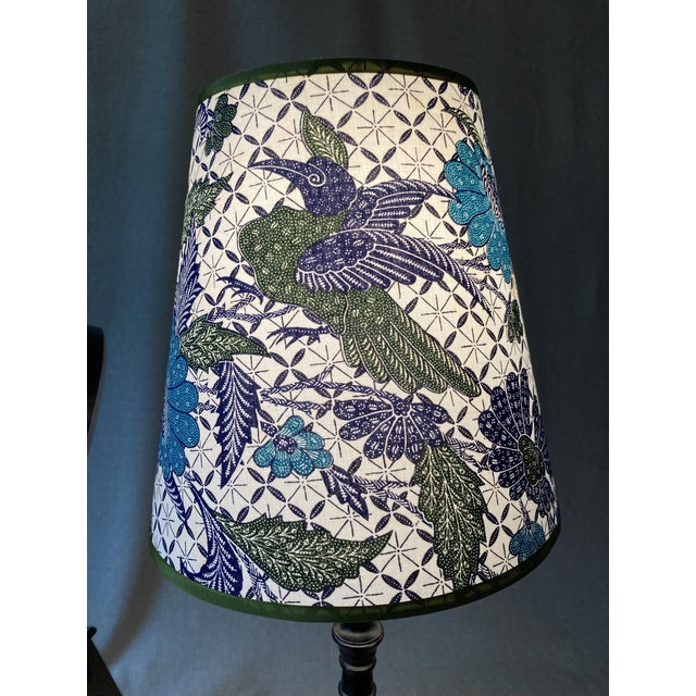 Boho Chic Blue & White Batik Fabric Covered Handmade Lamp Shades - a Pair For Sale - Image 3 of 5