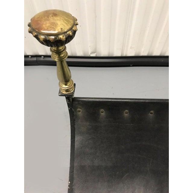 Vintage Savonarola Leather and Iron Stool For Sale - Image 9 of 11
