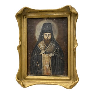 Russian Orthodox Priest Original Oil Painting on Panel 19th C. For Sale