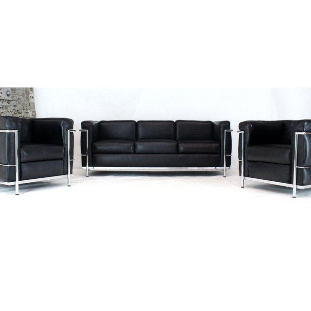 Licensed Le Corbusier Club Chairs and Matching Lc2 Sofa Set- 3 Pieces For Sale - Image 12 of 12