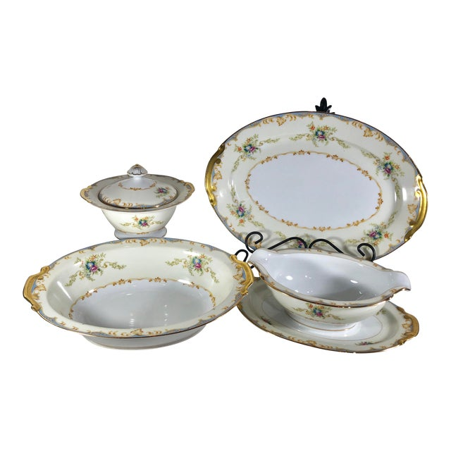 Antique Empress China Gold Accented Blue Floral Trim Serving Pieces - Set of 5 22k Gold Trim Victorian Style For Sale