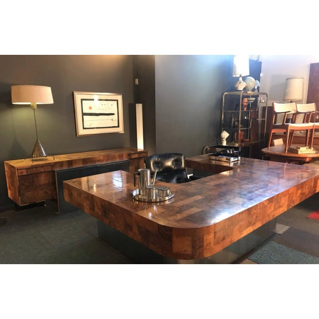 "1970s 1970s Mid-Century Modern Paul Evans ""Cityscape"" Executive Desk For Sale - Image 5 of 12"