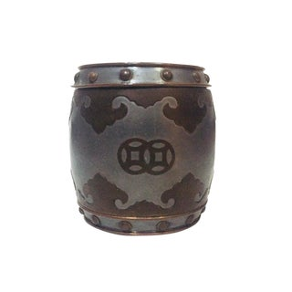 Mid Century Chinese Barrel Pewter & Brass Keepsake Trinket Box For Sale