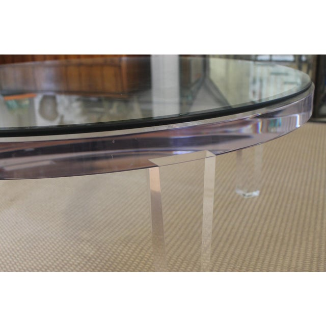 H- Studio Round Glass/Lucite Coffee Table For Sale - Image 4 of 8
