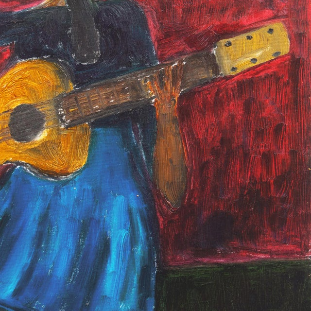 1990s 'Woman Playing Guitar' by Jonathan Taylor, California Post Impressionist Oil, Moss Landing For Sale - Image 5 of 8
