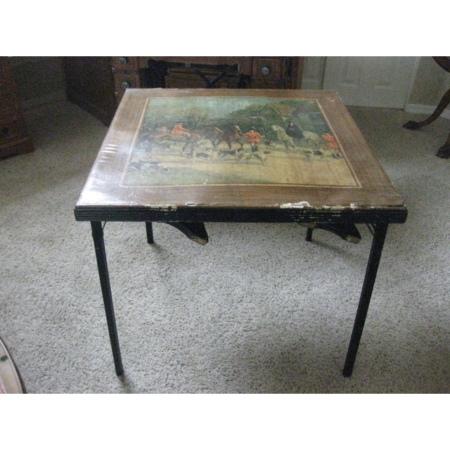 Vintage Card Table With Equestrian Hunt Scene For Sale - Image 13 of 13