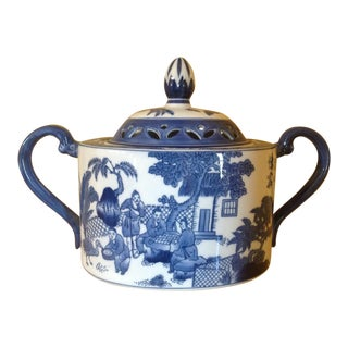 Blue & White Porcelain Potpouri Pot For Sale