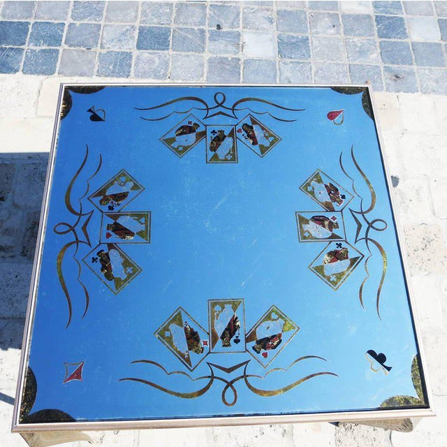 French Églomisé Mirrored Game Table in the Manner of Rene Drouet For Sale - Image 3 of 9