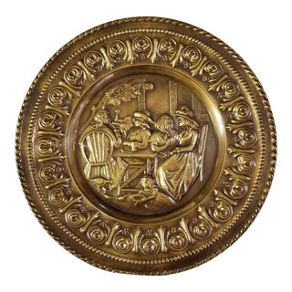 Repousse Brass Plate England Family Dining Scene For Sale