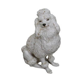 Italian Pottery Vintage White Ceramic Poodle Dog Statue (A) For Sale