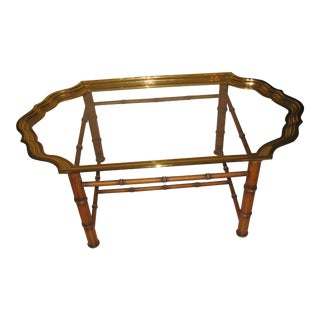 Vintage Brass Glass Top Tray With Bamboo Base Coffee Table For Sale