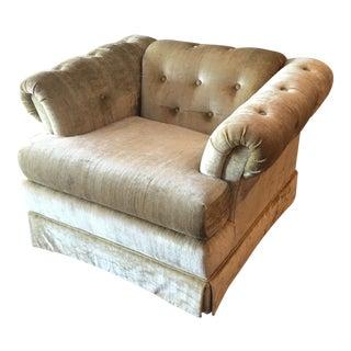Mid Century Bassett Velvet Pistachio Chesterfield Chair